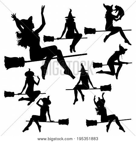 Vector silhouettes of flying witch. A slim witch flies on a broomstick in a hat in various poses.