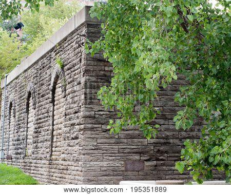Ancient Brick Wall in Cincinnati Ohio with arches