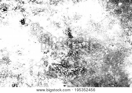 Distressed texture with noise and stains. Obsolete concrete wall. Weathered asphalt surface. Black and white monochrome vector texture. Aged and scratched stone overlay for vintage effect. Grit trace