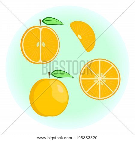 Flat vector orange set - fruit split in a half along and across fruit circle and wedge a slice or a segment of an orange. Cute colorful summer fruit