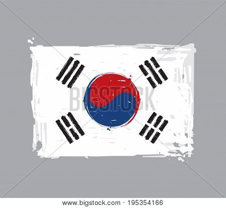 South Korean Flat Flag - Vector Artistic Brush Strokes and Splashes. Grunge Illustration all elements neatly on layers and groups. The JPEG has a clipping path for accurate background removal