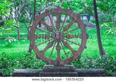 Wheel of life or Dharmachakra Wheel of Dhamma
