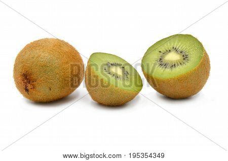 Kiwi on white background in close up