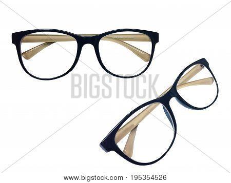 Two Eyeglass frames, black, brown inner leg On a white background.isolated