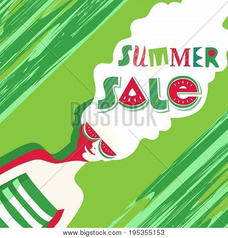 Summer sale Concept. Special bonus poster. Design element of discount campaign off price banner. Promotion of season offer in fun colorful cartoon style. Vector illustration idea to advertise hot deal