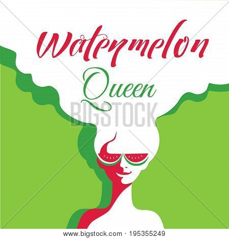 Watermelon poster concept. Hand drawn cartoon retro style. Pop art. Fancy letters watermelon queen. Beautiful young woman with sunglasses. Summer holiday. Banner signboard template vector illustration