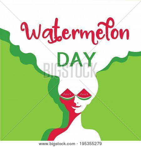 Watermelon poster concept. Hand drawn cartoon retro style. Pop art. Fancy letters. Beautiful young woman with red watermelon sunglasses. Summer holiday. Banner signboard template vector illustration