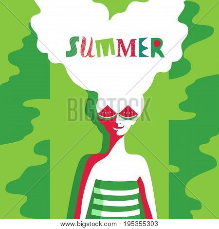 Watermelon poster concept. Hand drawn cartoon retro style. Pop art. Fancy letters headline. Beautiful young woman with red watermelon sunglasses. Summer holiday. Banner template vector illustration