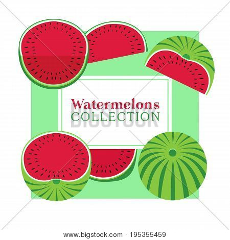 Watermelon poster concept. Food icons set collection. Hand drawn cartoon retro style. Pop art. Bright red, green color of watermelons. Summer time fruit. Design element template vector illustration