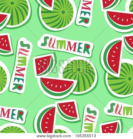 Summer seamless pattern. Watermelon fruit skin pattern. Fancy letters. Freehand drawn cartoon style. Bright color of watermelon. Vector template background for textile, packaging print projects layout