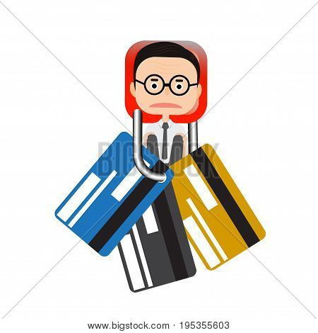 Vector - Businessman stick key lock  and credit card vector