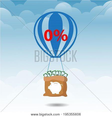 Vector - Zero Percent Interest Installment money  Vector Illustration