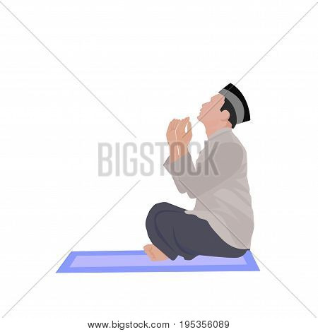 vector illustration of muslim offering namaaz. colorful hand drawn element for holiday design. doodle of a praying man