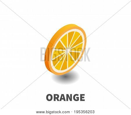 Orange icon vector symbol in isometric 3D style isolated on white background.
