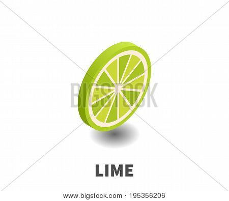 Lime icon vector symbol in isometric 3D style isolated on white background.