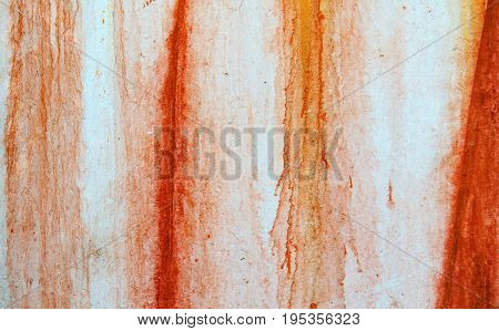 Texture Of Vintage Rusty White Iron Wall Background With Blood-like Paint Streaks