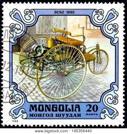 UKRAINE - CIRCA 2017: A postage stamp printed in Mongolia shows motorcar Benz Germany 1885 from the series