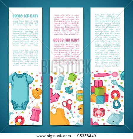 Set of design templates for vertical banners with childhood's patterns. Newborn staff for decorating flyers. Clothes, toys, accessories for babies. Vector