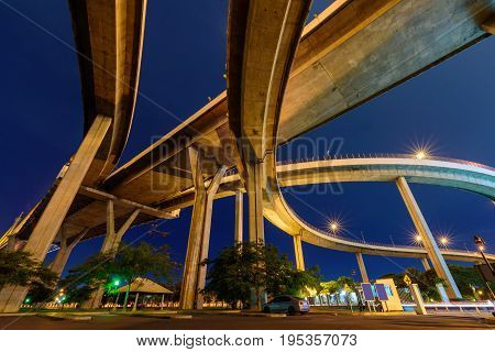 Under the bridge and lighting in night time / Public park at under expressway in night time