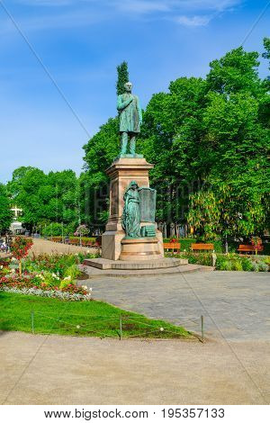 Esplanade Park And The Runeberg Statue, In Helsinki