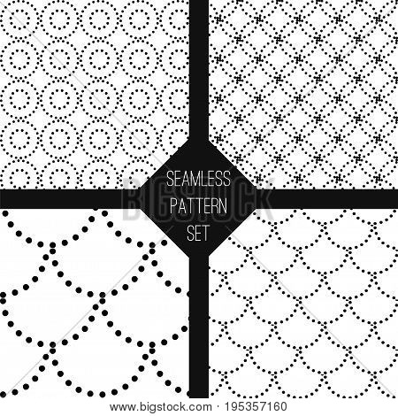 Black and white seamless pattern set. Stock vector illustration of wallpaper design with dotted circular elements.