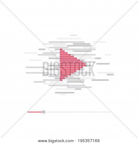 Live streaming concept. Stock vector illustration of broadcast online with red arrow on grey background in modern style