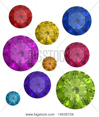 Collections of gems isolated on white background. Gemstone poster