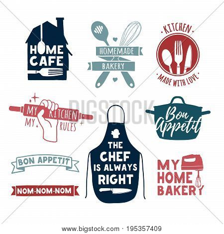 Set of color vintage retro handmade badges, labels and logo elements, retro symbols for bakery shop, cooking club, cafe, food studio or home cooking. Template logo with silhouette cutlery. Vector
