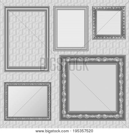 Picture frames set. Vector decorative picture or photo frame collection