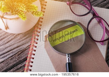 Business Concept : Affiliate Program Written On Envelope With Wooden Background.