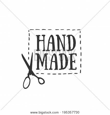 Handmade badges, labels and logo elements, retro symbols for local sewing shop, knit club, handmade artist or knitwear company. Template logo. Vector
