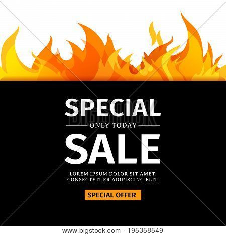 Template design horizontal banner with Special sale. Card for hot offer with frame fire graphic. Invitation layout with flame border on white background. Vector