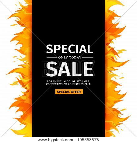Template design vertical banner with Special sale. Black card for hot offer with frame fire graphic. Invitation layout with flame border on white background. Vector