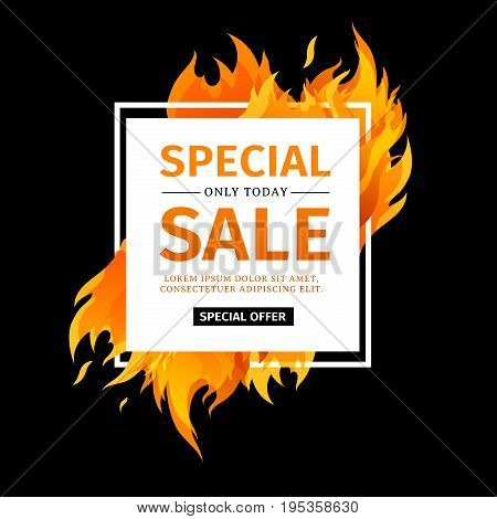 Template design square banner with Special sale. White card for hot offer with frame fire graphic. Advertising poster layout with flame border on black background. Vector