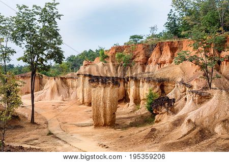 The rock formations in Phae Mueng Phi National park, Phrae Province, Thailand.