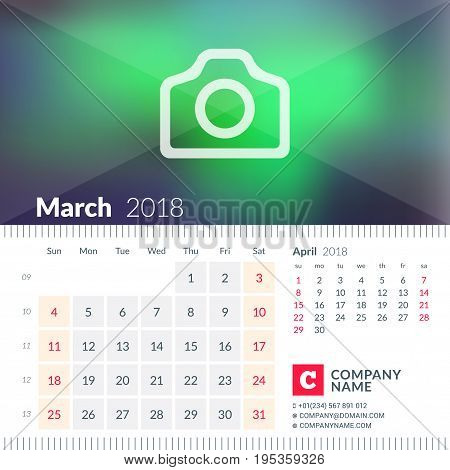 Calendar For March 2018. Week Starts On Sunday. 2 Months On Page. Vector Design Template With Place