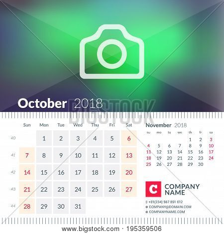 Calendar For October 2018. Week Starts On Sunday. 2 Months On Page. Vector Design Template With Plac