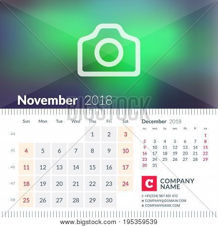 Calendar For November 2018. Week Starts On Sunday. 2 Months On Page. Vector Design Template With Pla