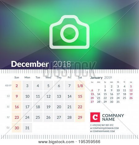 Calendar For December 2018. Week Starts On Sunday. 2 Months On Page. Vector Design Template With Pla