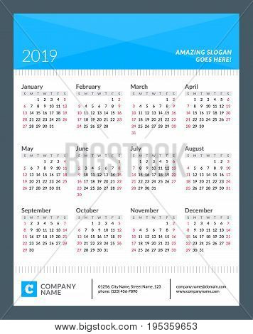 Calendar Poster For 2019 Year. Week Starts On Sunday. 12 Months On Page. Vector Design Print Templat