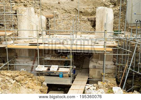2017.07.07 Trieste Italy. Actual archaeological site. Monument a roman lime structure of I century after Christ.