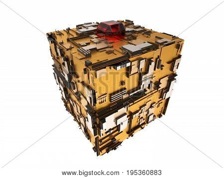 3d illustration of techno cube with gold and steel materials. isolated on white.