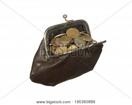 Small coins in old wallet with metal clasps isolated on white background.