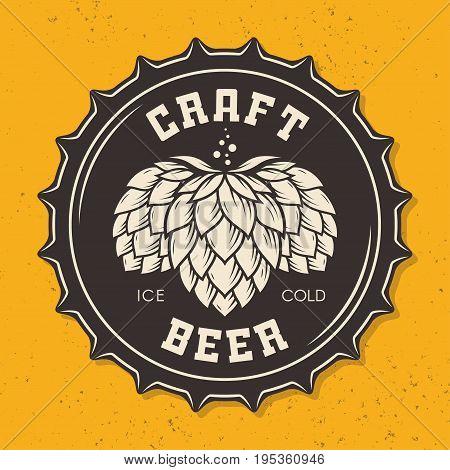 Illustration of craft beer bottle cap with hops for pub, bar, beer shop, brewery, restaurant. Vector emblem, label, logo, stamp, badge