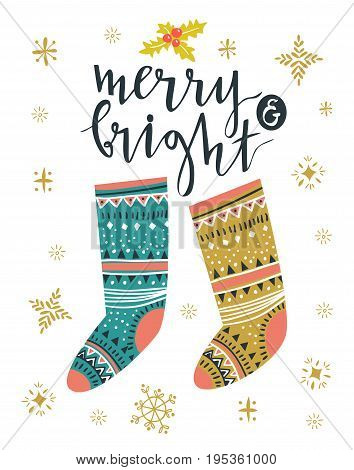 Christmas socks. Template for Greeting Scrap booking Congratulations Invitations greeting card. Vector illustration with isolated christmas poster.