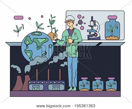 Scientist chemist or ecologist. Science experiment. Young man holding a test tube. Vector illustration.