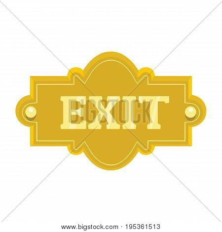 Gold signboard with text exit for your design vector illustration isolated on white background gold sign for city advertising