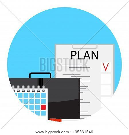 Making monthly business plan for deadline. Icon app monthly planner. Vector illustration