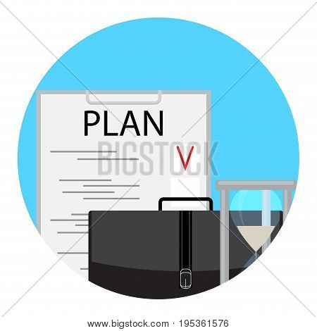 Planning and time management icon. Vector project management illustration of stress management hourglass and briefcase
