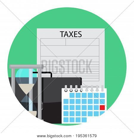 Time of payment of tax icon. Tax refund and vector tax preparation illustration of tax forms icon app